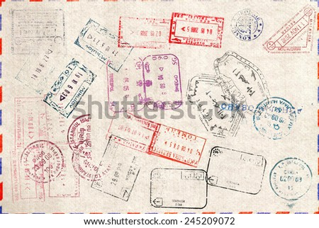 Immigration stamp. Passport Stamps  - stock photo