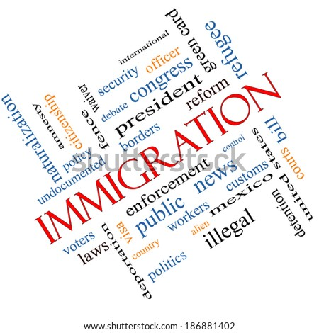 Immigration Word Cloud Concept Angled with great terms such as reform, borders, alien and more. - stock photo