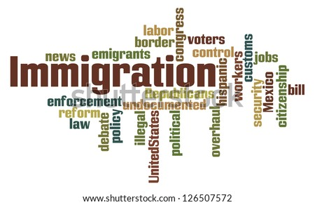 Immigration Word Cloud on White Background - stock photo