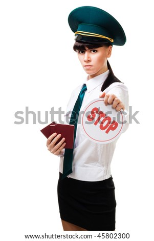 Immigration worker woman with stop sign and passports in her hand