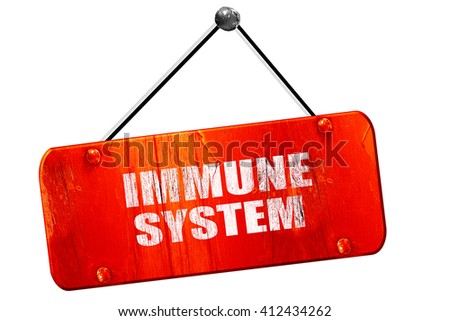 immune sytem, 3D rendering, vintage old red sign - stock photo