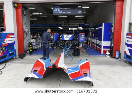 Imola, Italy -?? May 16, 2015: BR01 Nissan of SMP Racing Team, driven by Maurizio Mediani - David Markozov - Nicolas Minassian  in action during the European Le Mans Series - 4 Hours of Imola