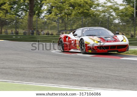 Imola, Italy May 16, 2015: Ferrari F458 Italia of FORMULA RACING Team, driven by Johnny Laursen  - Mikkel Mac  - Andrea Rizzoli  in action during the European Le Mans Series - 4 Hours of Imola