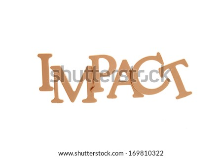 Impact - Three Dimensional Letter isolated on white background.