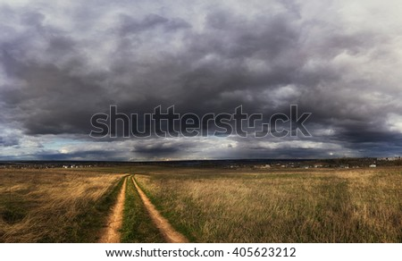 impending squall with rain, impending hurricane, impending rain, Prairie Storm, the storm is coming, approaching storm, thunderstorm, tornado, mesocyclone, climate - stock photo
