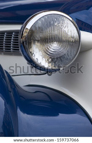 IMPERIA, ITALY - OCTOBER 19: Close up detail of a BMW 327 cruising on the road during raid of vintage cars in Imperia, Italy on October 19, 2013.