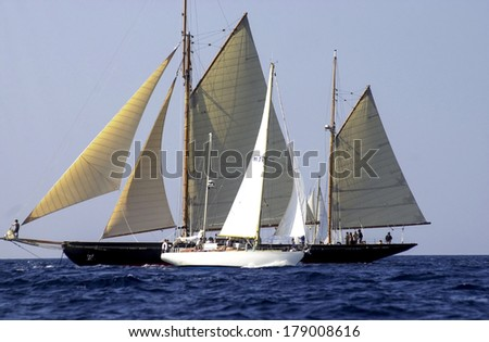 "IMPERIA, ITALY-SEPTEMBER 12, 2002: Sailing boat race ""Vele d'Epoca"", Challenge for Classic Yachts, in the sea of Liguria."