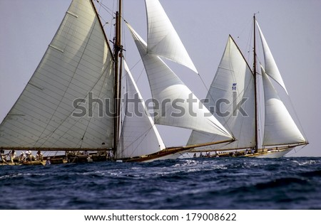 "IMPERIA, ITALY-SEPTEMBER 13, 2002: Sailing boat race ""Vele d'Epoca"", Challenge for Classic Yachts, in the sea of Liguria."