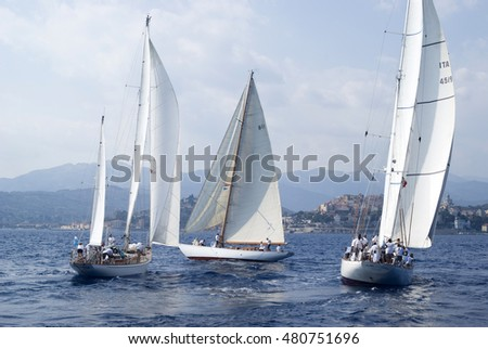 Imperia, Italy - September 8, 2016: Stage of the Panerai Classic Yachts Challenge, is a key event in sailing the Mediterranean. Over 80 boats participated in the regatta in the Gulf of Imperia