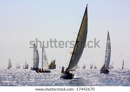 IMPERIA, ITALY - SEPTEMBER 14, 2008: The 15th Vele dâ Epoca di Imperia and Panerai Classic Yachts Challenge took place in Imperia, Italy, from 10th to 14th September 2008. - stock photo
