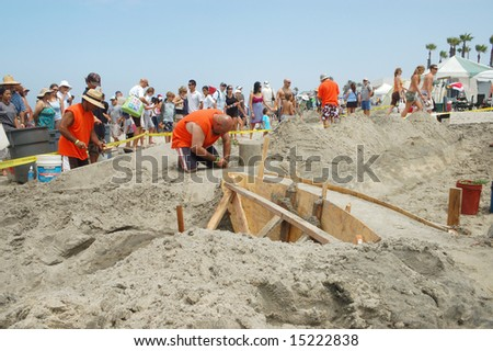 IMPERIAL BEACH, CA - 13 JULY 2008: Participants and spectators at the 28th US Open Sandcastle Competition.