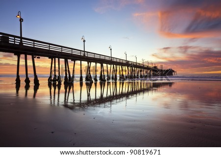 Imperial Beach Pier After Sunset - stock photo