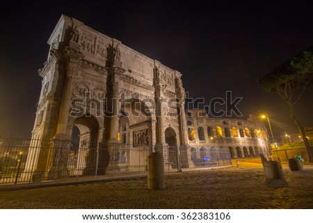imperial forum and the colosseum at night Roman era city roma - stock photo