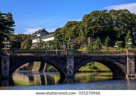 Imperial Palace with Nijubashi Bridge, Tokyo, Japan - stock photo
