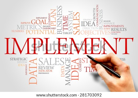 Implement word cloud, business concept - stock photo