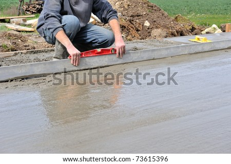 implementation of a concrete slab - stock photo