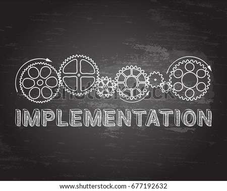 Implementation text with gear wheels hand drawn on blackboard background