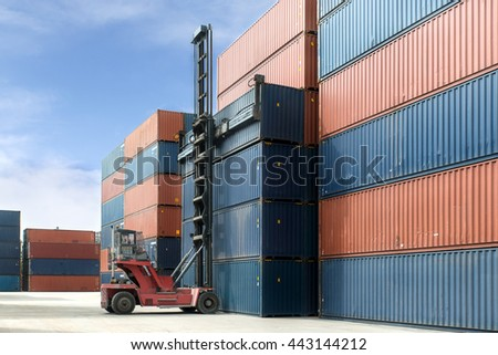 Import, Export, Logistics concept - Crane lift up container box loading to container depot use for cargo import, export, logistics background.