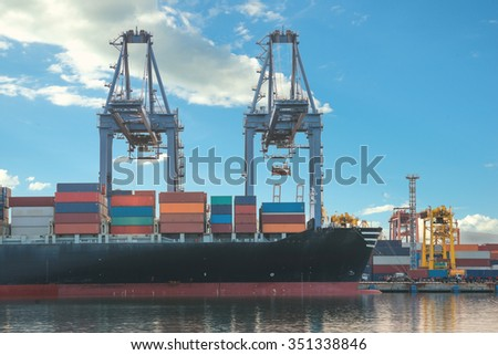 Import, Export, Logistics concept - Singapore cargo terminal,one of the busiest ports in the world, Singapore.Use for cargo import, export, logistics background. - stock photo