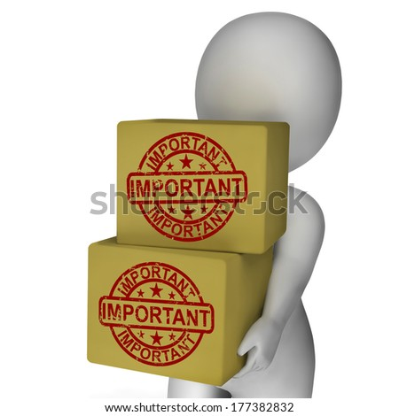 Important Boxes Showing High Priority And Critical Delivery - stock photo
