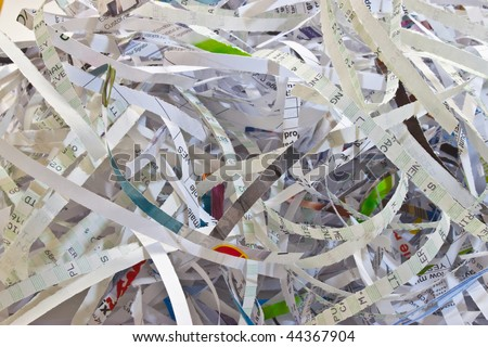 important documents shredded to prevent identity theft - stock photo