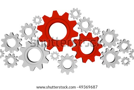 Important Gears; great for teamwork, leadership, collaboration and process concepts. - stock photo