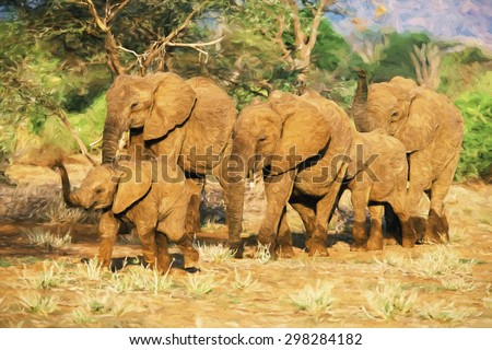 Impressionist art of African Elephant (Loxodonta africana) herd, Samboro National Reserve, Kenya, Africa - stock photo
