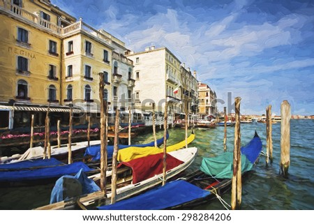 Impressionist art of Gondolas along the Grand Canal with typical Venusian architecture in Venice Italy