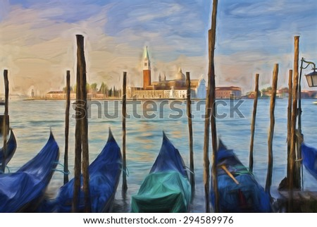Impressionist painting of Gondolas moored at Molo San Marco in Venice Italy with San Giorgio Maggiore in the background