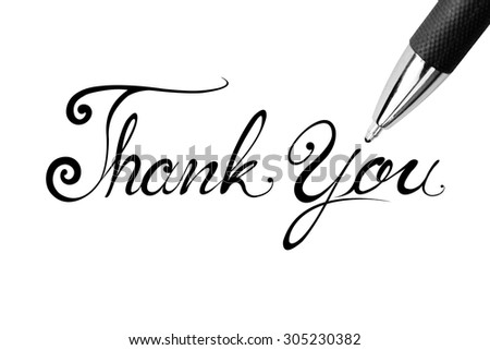 Impressionist photo isolated Lettering Series: Thank You. This has clipping path.  - stock photo