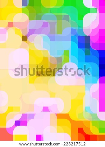 Impressionistic urban sunset: Multicolored abstract background of rounded, overlapping polygons with 3-D effect and urban motif of colorful multiplicity - stock photo