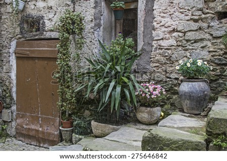 Impressions and details from the small Ligurian village of Apricale - stock photo
