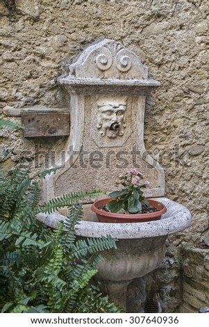 Impressions and details from the small Ligurian village of Bussana Vecchia - stock photo