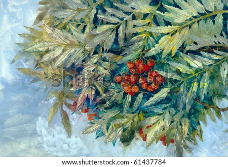 Impressions and sketch in gouache. Bunch of ripe mountain ash hanging on a branch among the lush foliage