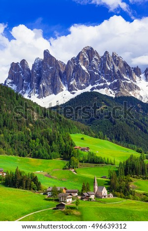 Impressive Alpine scenery - val di Funes in Dolomites mountains, north of Italy