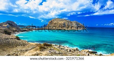 impressive Greek islands - Karpathos (Dodekanese) - stock photo