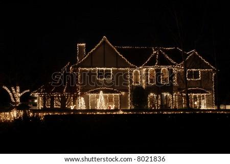Impressive home decorated for Christmas, Los Altos, California - stock photo