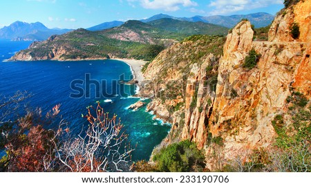 impressive landscapes of Corsica - red rocks Calanques - stock photo