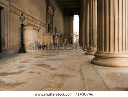 Impressive sandstone columns on St Georges Hall Liverpool - stock photo