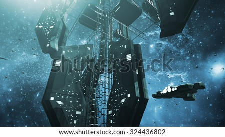 Impressive space station and a scifi spaceship. 3D rendering - stock photo