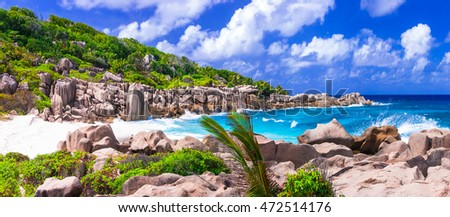 impressive wild rocky beach Anse Marron in Seychelles. La Digue