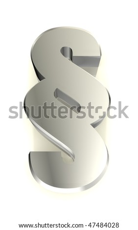 Impressum - paragraph sign in metal, a 3d image - stock photo