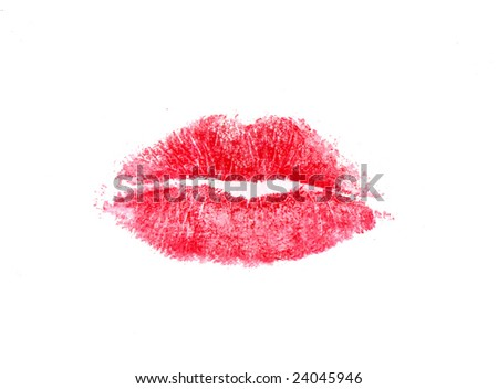Imprint of lips - stock photo