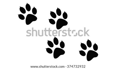 Imprint of the black paw prints of the animal. Web icon, color paw dog. Paw print pet. Print on white background.  - stock photo