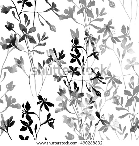 Imprints Black And White Simple Flowers Hand Painted Seamless Pattern Digital Drawing Watercolor