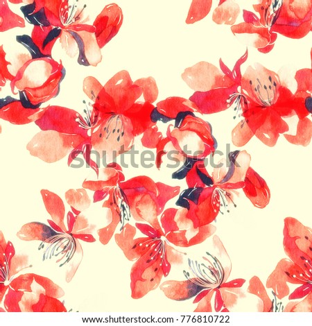 imprints delicate cherry blossoms mix seamless pattern. abstract watercolour and digital hand drawn picture. mixed media artwork for textiles, fabrics, souvenirs, packaging and greeting cards.