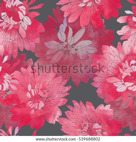 imprints Japanese chrysanthemum. hand painted seamless pattern. digital drawing and watercolor texture. background for textile decor and design. wallpaper. mixed media frame