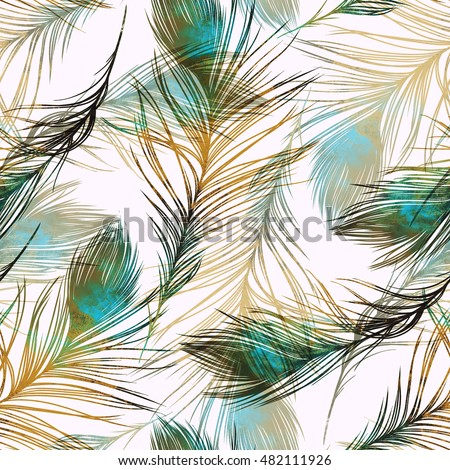 imprints peacock feathers. hand painted seamless pattern. digital drawing and watercolor texture. background for textile decor and design. botanical wallpaper. boho chic art, mixed media. floral frame