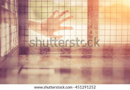 Imprison.Photo Imprison concept.Jail concept.warm tone - stock photo
