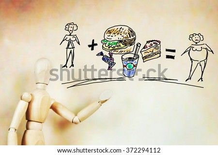 Improper nutrition and the problem of obesity. Abstract image with a wooden puppet - stock photo